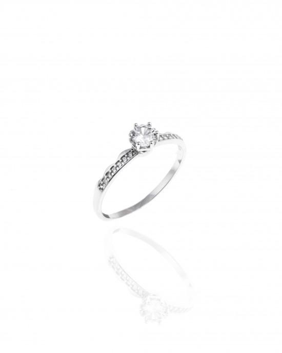 Silver 925-Platinum Women's Ring Single stone with Stone Zircon in Silver Color No60AJ(DA0072)