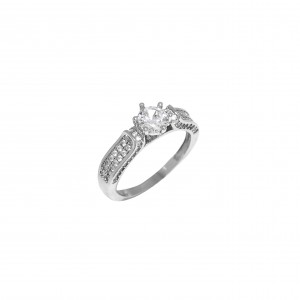 Silver 925-Platinum Women's Single Stone Ring with Zircon Stones in Silver Color No54AJ (DA0074)