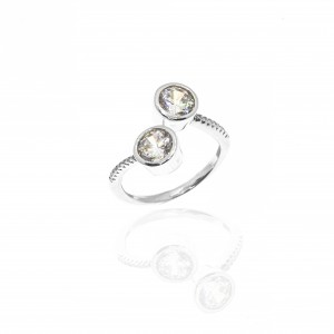 Silver 925-Platinum Women's Single Stone Ring with Zircon Stones in Silver Color No56AJ (DA0075)