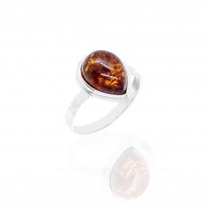 Sterling Silver 925- Single Stone Ring with Amber in Silver AJ (DA0088A)