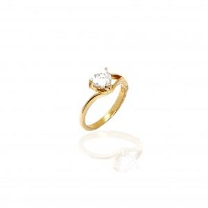 Sterling Silver 925 Ring - Single Stone in Gold AJ (DA0092X)