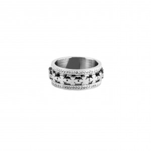 Women's steel ring in silver color with zircon AJ(DK0001A)