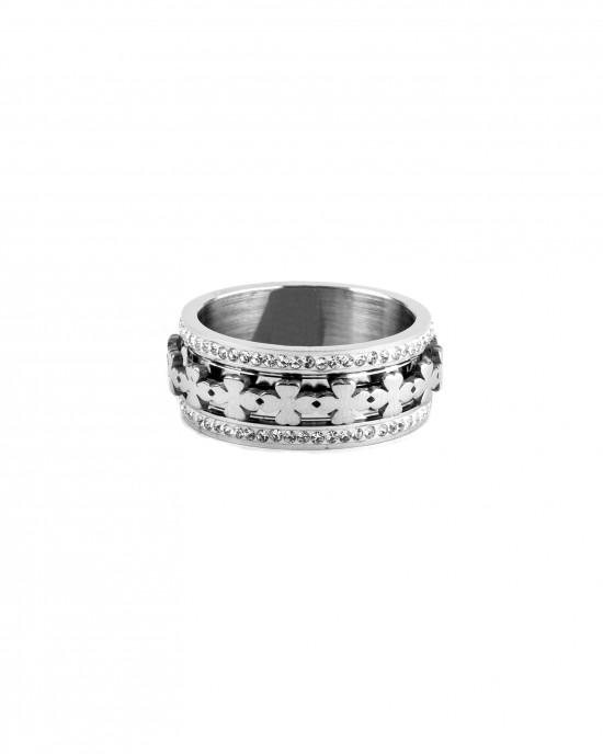 Women's steel ring in silver color with zircon AJ(DK0001A)