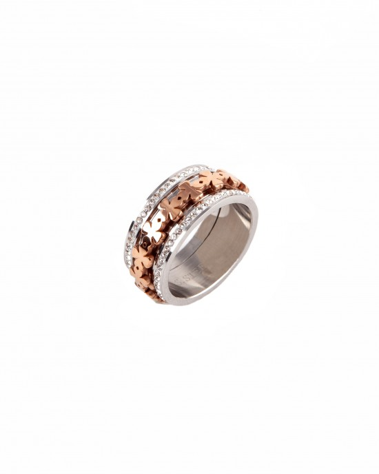 Women's steel ring in silver and pink  AJ(DK0001RX)