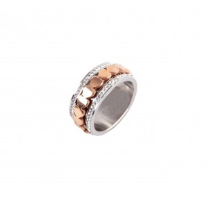 Women's steel ring in silver and pink gold AJ(DK0002RX)