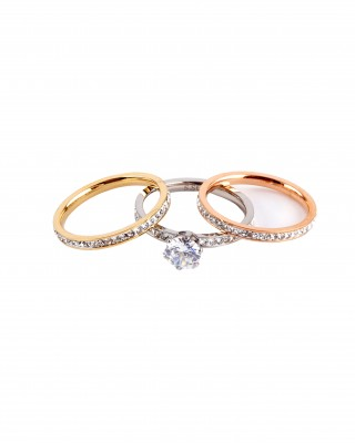 Women's steel rings in gold pink gold and silver AJ(DK0003AS)