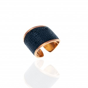 Women's Ring-Chevalier with Steel Stones in Rose Gold AJ(DK0023RX)