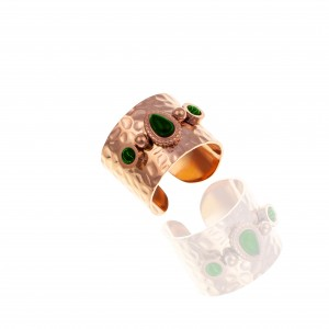 Ring-Chevalier with Steel Stones in Rose Gold AJ (DK0026RX)