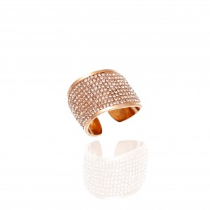Women's Ring-Chevalier with Stones in Steel in Pink Gold AJ (DK0028RX)
