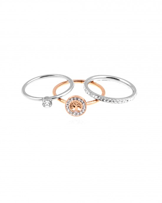 Women's Steel Rings in Rose Gold and Silver AJ (DK0037AR)