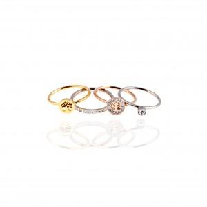 Women's Steel Rings in Rose Gold and Silver AJ (DK0037AR)