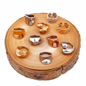 Women's Ring from Steel to Yellow Gold AJ (DK0039X)