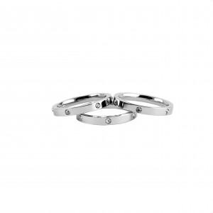 Women's silver steel rings with strass AJ(DK0003A)