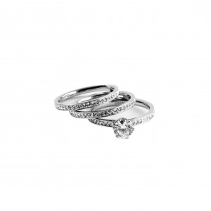 Women's Ring Set with Silver Zircon Stones in Silver AJ Color (DK004A)