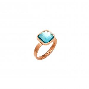 Women's Ring-Single Stone from Steel in Pink Gold AJ (DKM0008RX)