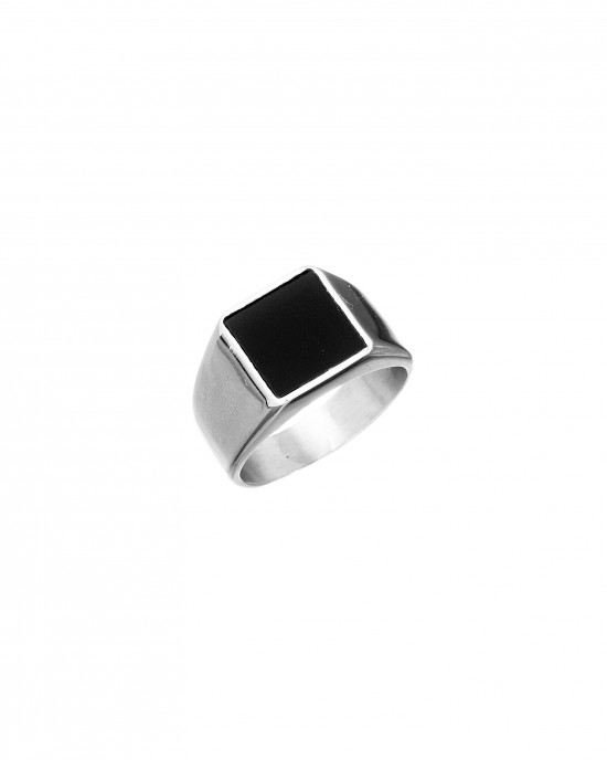 Stainless Steel Men's Ring with Silver Stone in Silver AJ (DKS0023A)