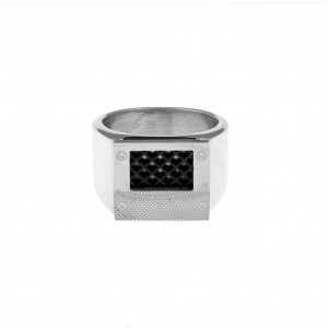 Men's Steel Ring in Silver AJ (DKS0029A)