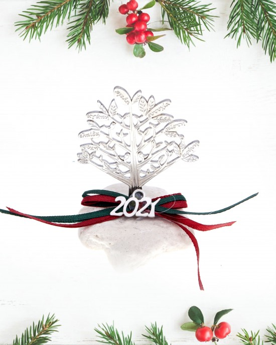 Charm 2021 Stone Tree of Life in Silver from Steel AJ (GA0012A)