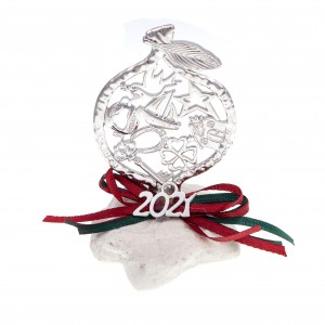 Charm 2021 Pomegranate in Stone in Silver from Steel AJ (GA0014A)