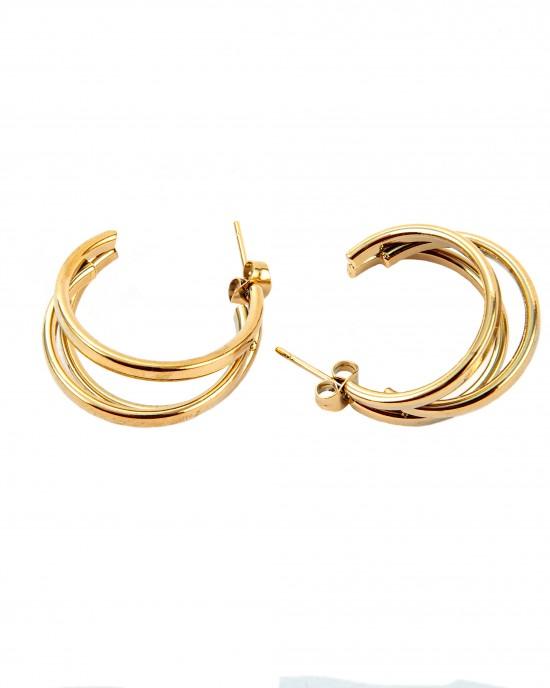 Women's Earrings Puppets in Color Yellow Gold made of AJ Steel (SKK0023X)