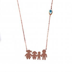 Women's Family Necklace from Surgical Steel in Pink Pink Gold AJ (KO.004R.X)