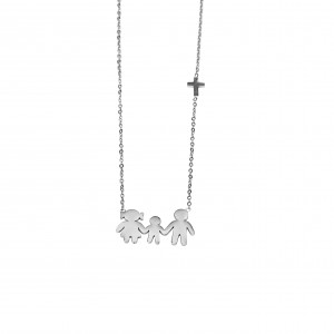 Necklace Women's Family MAMA-BABAS-AGORI from Surgical Steel in Silver Color AJ (KO0005A)