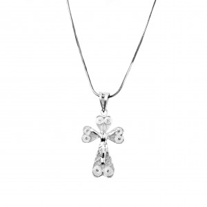 Silver 925 Cross Necklace Women's Filigree in Silver Color AJ (KA0005A)