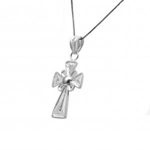 Sterling Silver 925 Cross Necklace Women's Filigree in Silver Color AJ (KA0007A)
