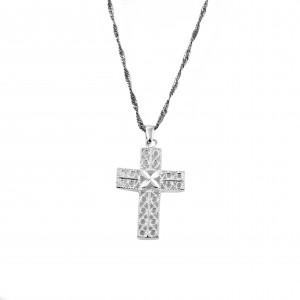 Silver Cross 925 Women's Filigree Necklace in Silver Color AJ (KA0009A)