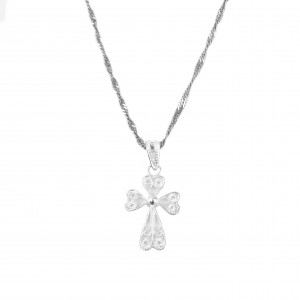 Silver 925 Cross necklace Women's Filigran in Silver Color AJ (KA0010A)