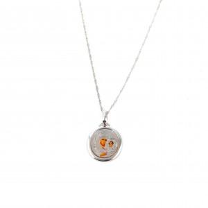 Women's Silver 925 Necklace with Silver Enamel AJ (KA0011)