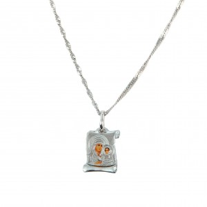 Silver Virgin Mary 925 necklace in papyrus design
