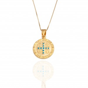 Sterling Silver 925 Amulet Constantine Necklace in Yellow Gold Color AJ (KA0013K)