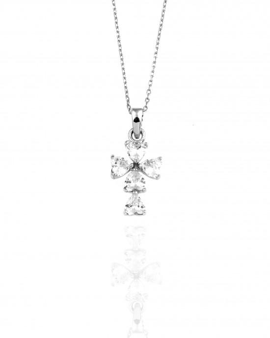 Sterling Silver 925 Women's Cross with Stones in Silver AJ (KA0017)
