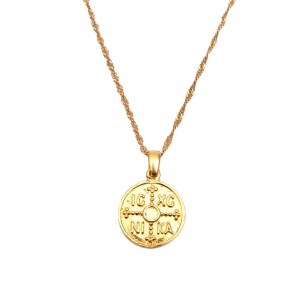 Sterling Silver 925 Amulet Constantine Necklace in Yellow Gold Color AJ (KA0019)