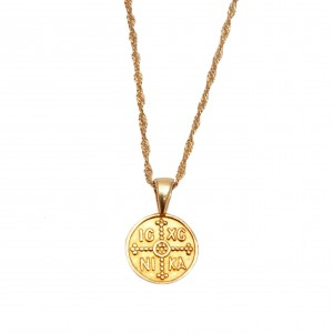 Sterling Silver 925 Amulet Constantine Necklace in Yellow Gold Color AJ (KA0024K)