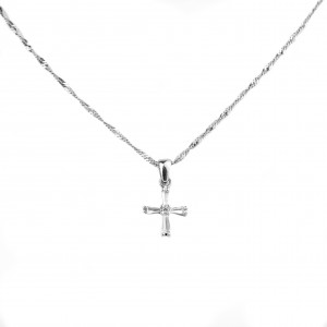 Sterling silver 925 cross necklace with zircon stones