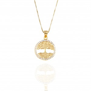 Necklace-Female Tree of Life Silver 925 in Gold AJ (KA0028)