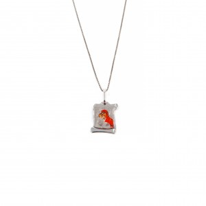 Sterling silver necklace 925 in papyrus with denomination of the Virgin in silver