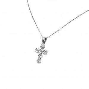 Cross Necklace Pure Silver 925 with Zirconia in Silver Color AJ (KA0049)