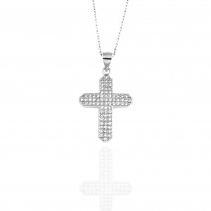 Silver 925 Necklace for Women Cross with Zircon in Silver Color AJ (KA0050)
