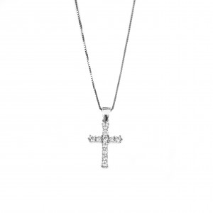 Silver 925 Women's Cross Necklace with Zircon in Silver Color AJ (KA0051)