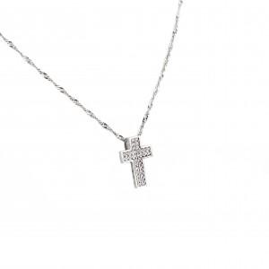 Women's Silver 925 Cross Necklace with Zircon in Silver Color AJ (KA0052)