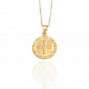 Sterling Silver 925 Amulet Constantine Necklace in Yellow Gold Color AJ (KA0053K)