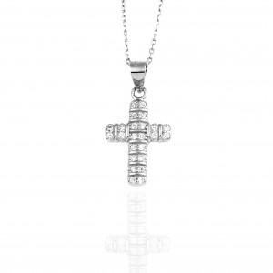 Sterling Silver Cross 925 Women with Stones in Silver AJ (KA0056A)