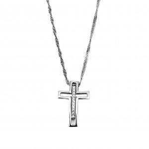 Silver Cross necklace 925 Women with Zircon in Silver Color AJ (KA0057A)
