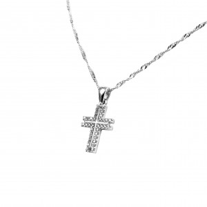 Silver 925 Women's Cross with Zircon Stones in Silver Color AJ (KA0061)