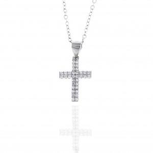 Sterling Silver 925 Women's Cross with Chain in Silver AJ (KA0061)