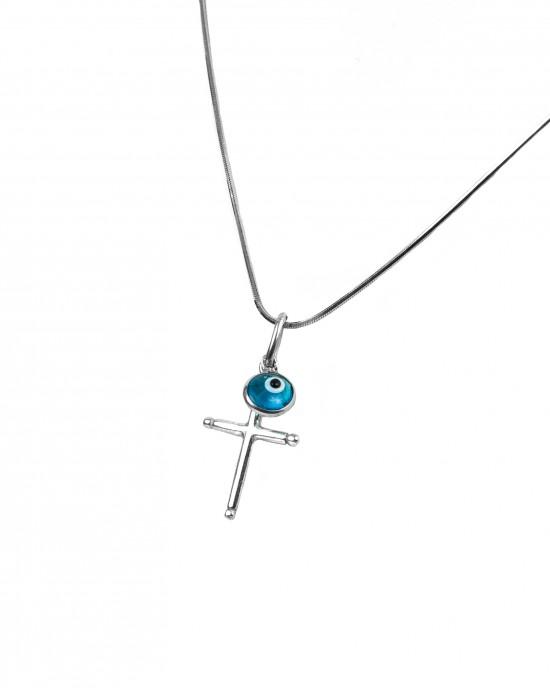 Silver 925 Cross necklace in AJ Silver Color (KA0063)