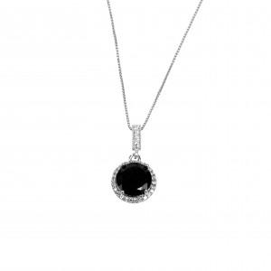 Silver 925 Women's Necklace in Silver Color with Zircon Stones AJ (KA0065)